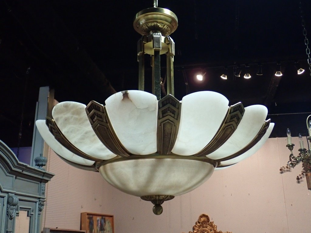 Art Deco Style Bronze and Alabaster Chandelier - 5