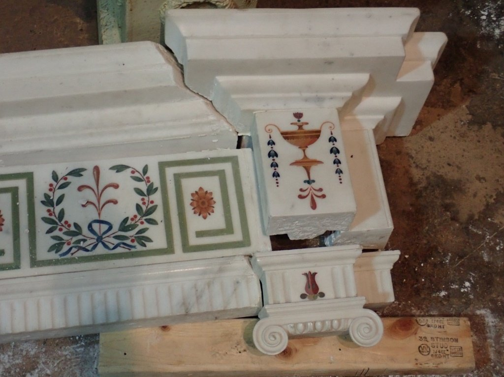 Antique Continental Scagliola Marble Fireplace - 10