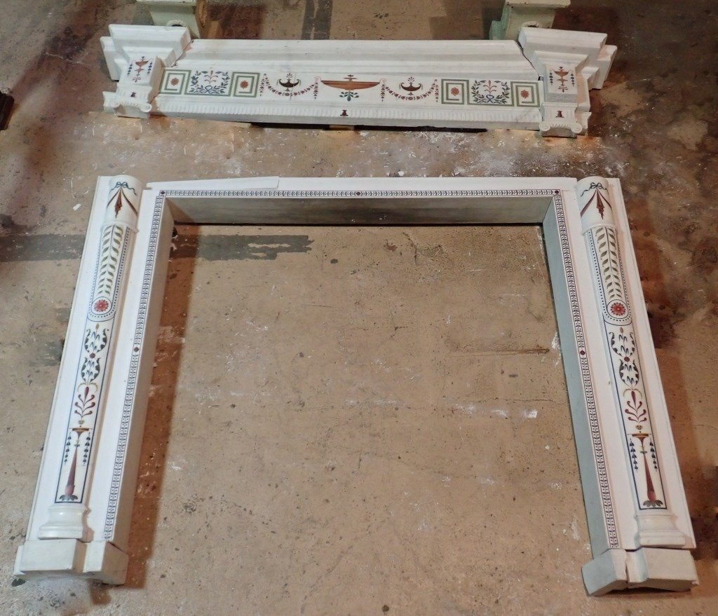 Antique Continental Scagliola Marble Fireplace