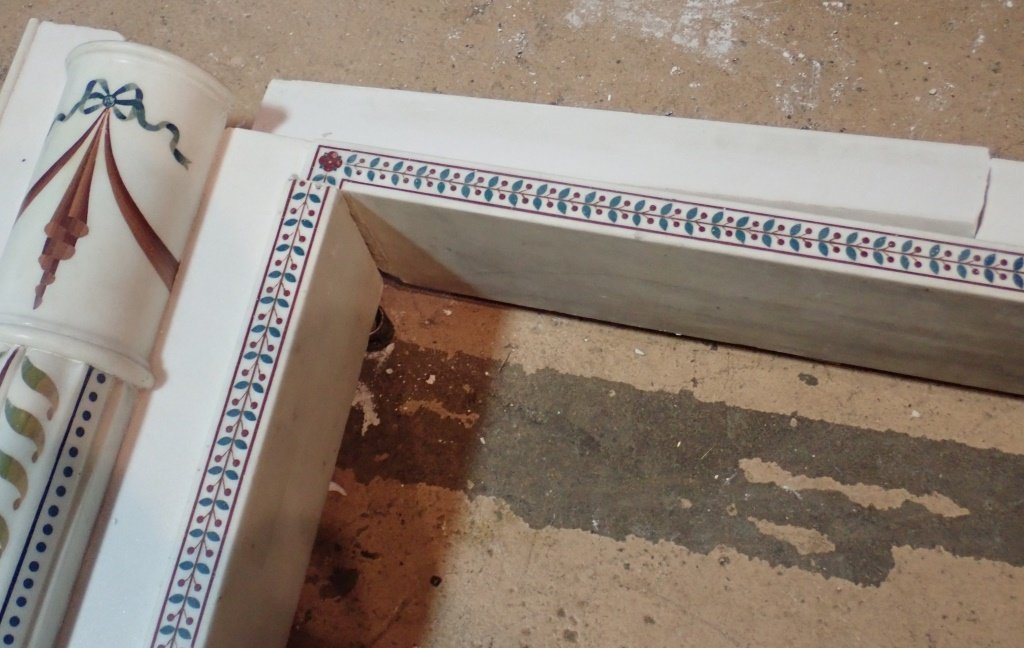 Antique Continental Scagliola Marble Fireplace - 5
