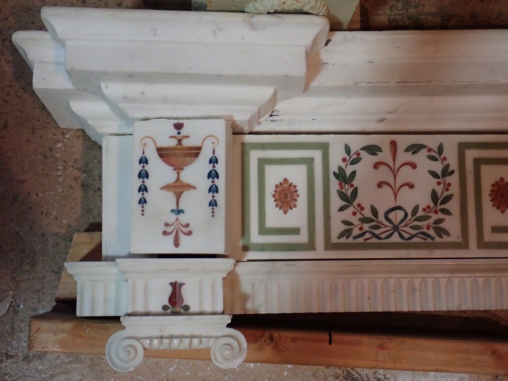 Antique Continental Scagliola Marble Fireplace - 7