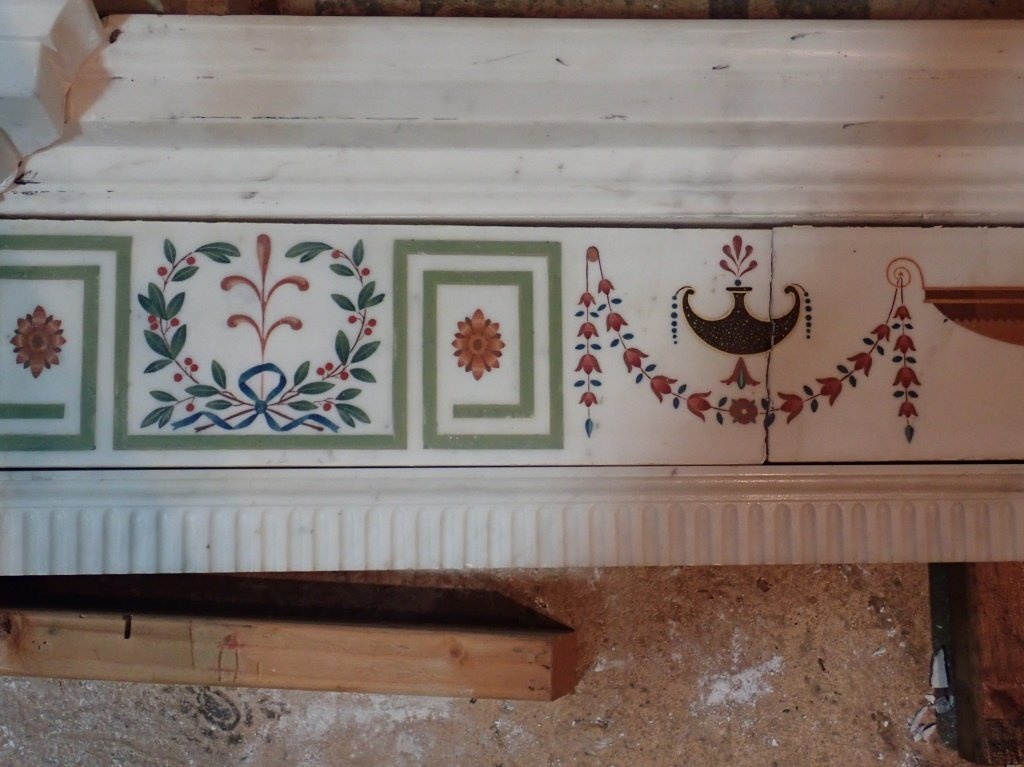 Antique Continental Scagliola Marble Fireplace - 8
