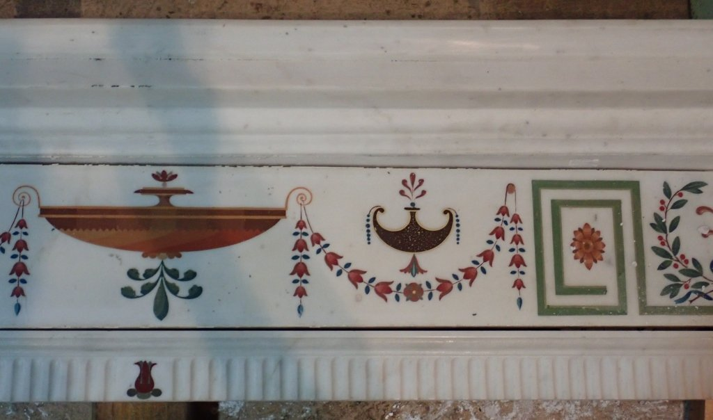 Antique Continental Scagliola Marble Fireplace - 9