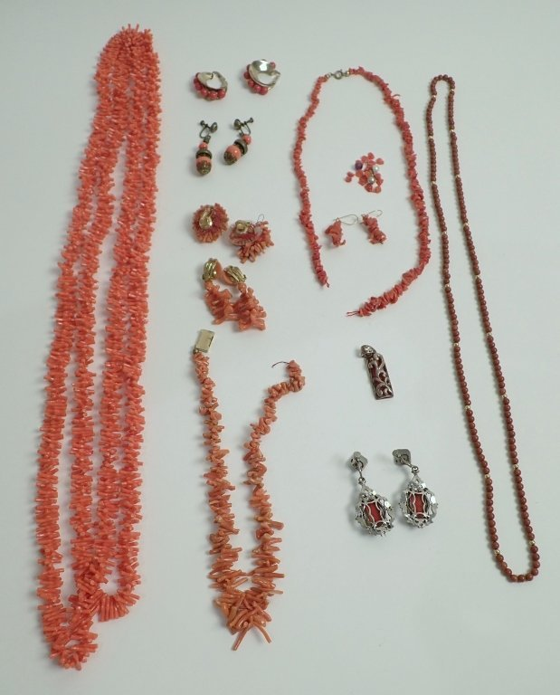 Vintage Coral Jewelry Assortment - 10