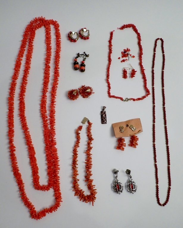 Vintage Coral Jewelry Assortment - 9