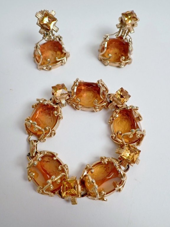 Vintage Amber Bracelet & Earring Set