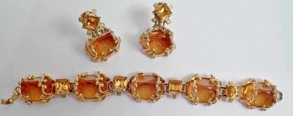 Vintage Amber Bracelet & Earring Set - 2