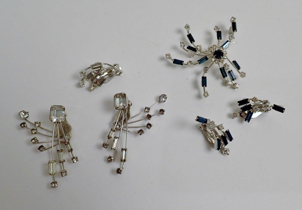 Faux Diamond & Sapphire Brooch & Earrings