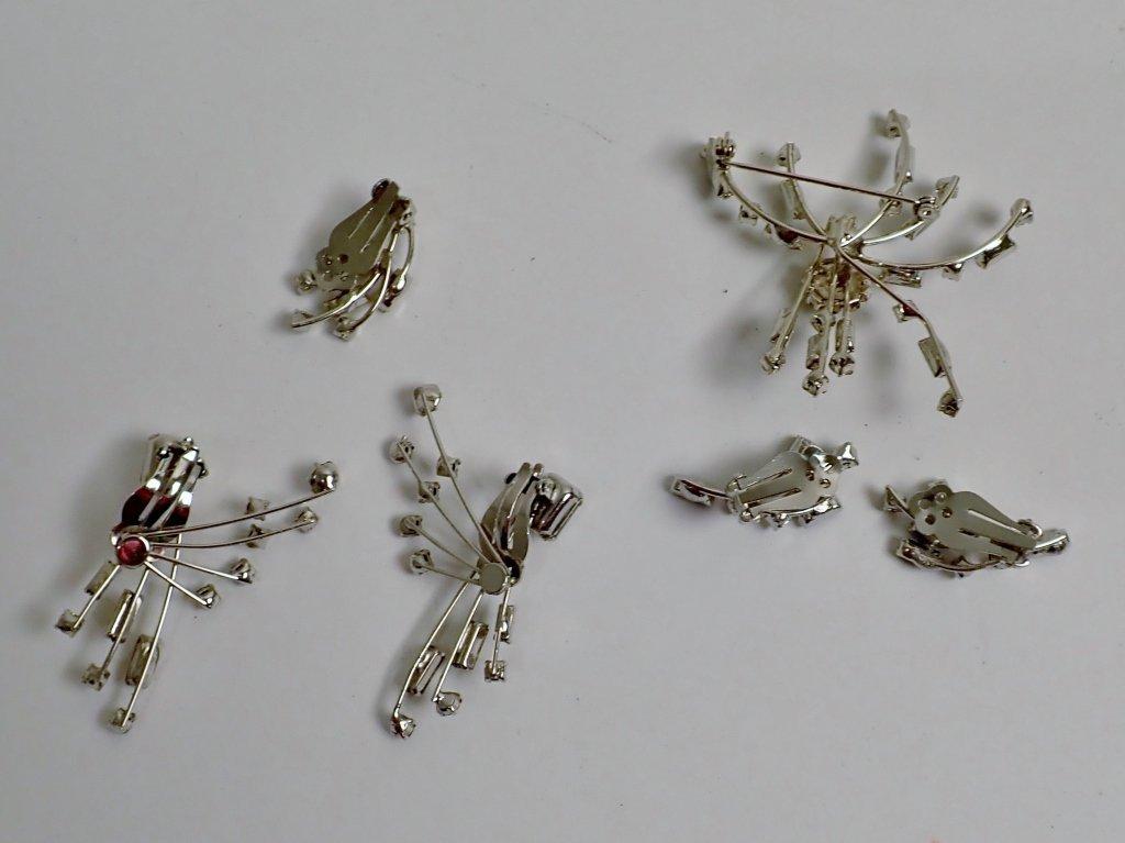 Faux Diamond & Sapphire Brooch & Earrings - 2