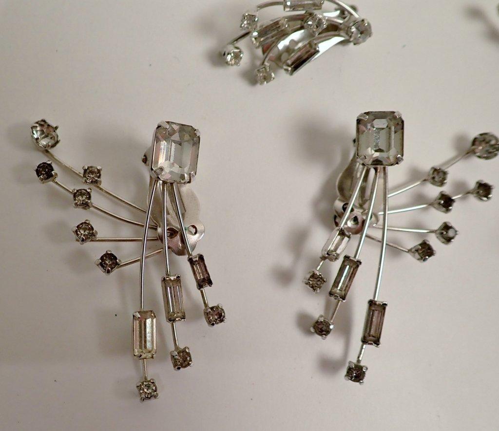 Faux Diamond & Sapphire Brooch & Earrings - 3