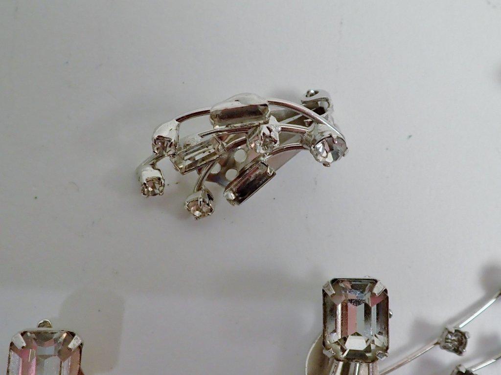 Faux Diamond & Sapphire Brooch & Earrings - 4