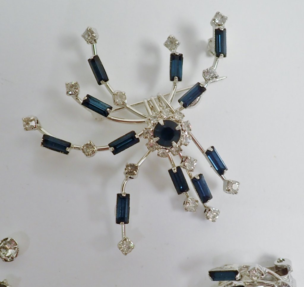 Faux Diamond & Sapphire Brooch & Earrings - 5