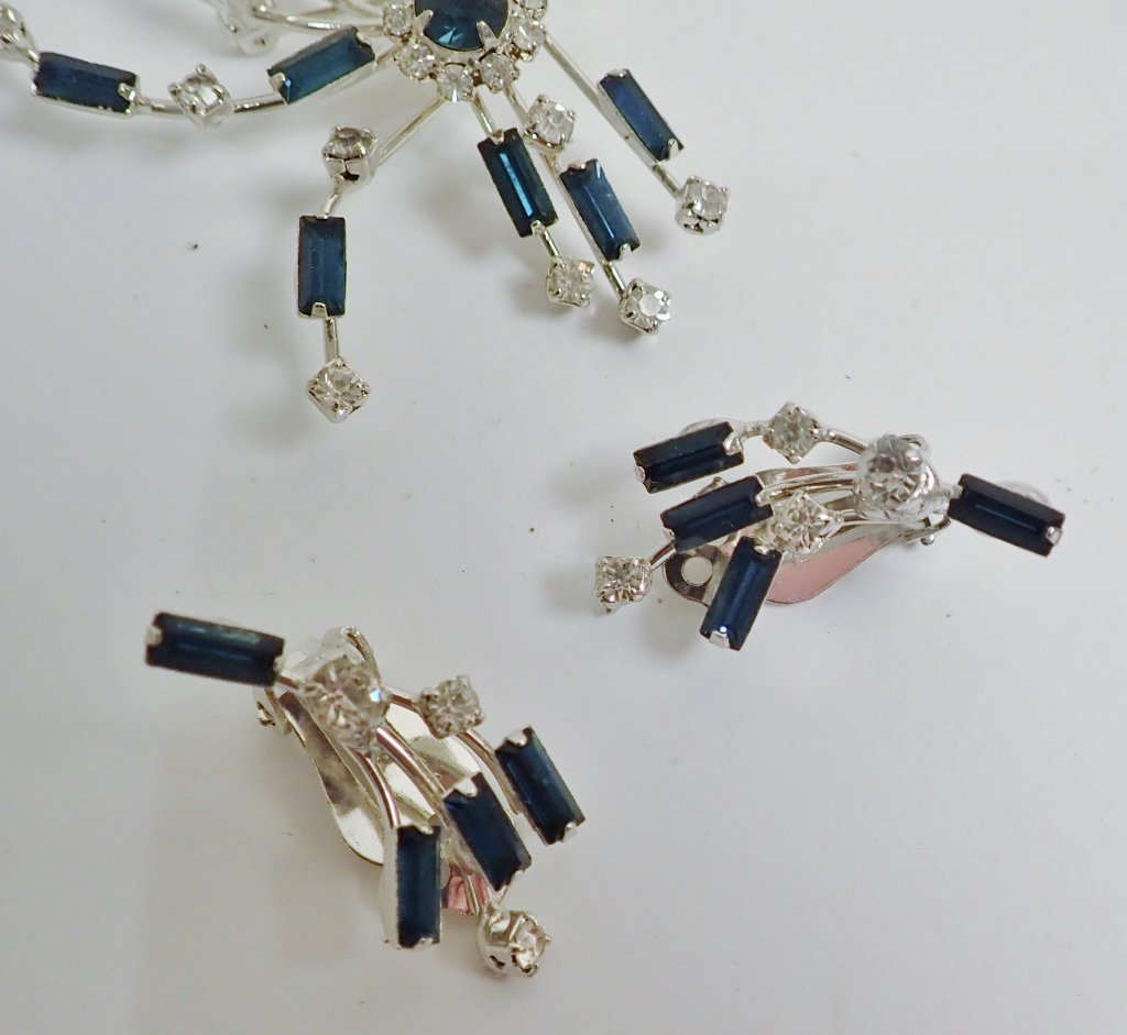 Faux Diamond & Sapphire Brooch & Earrings - 6