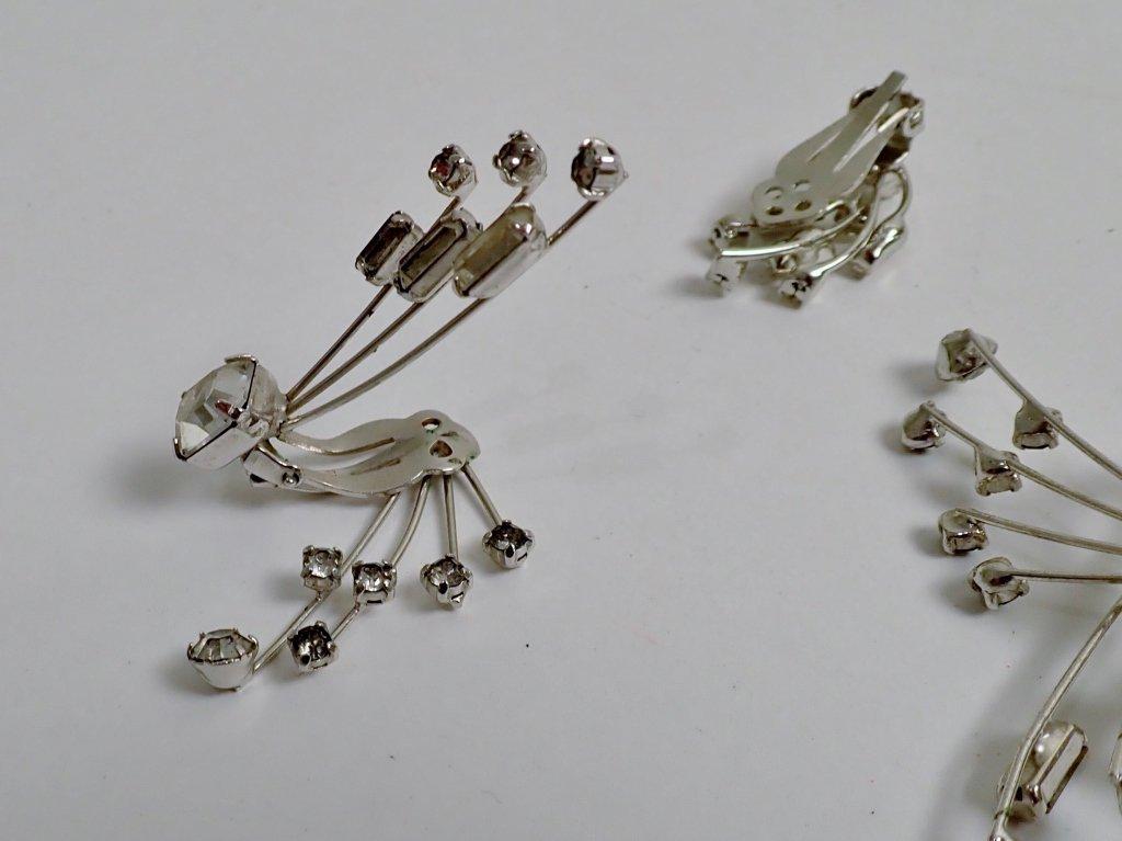 Faux Diamond & Sapphire Brooch & Earrings - 8