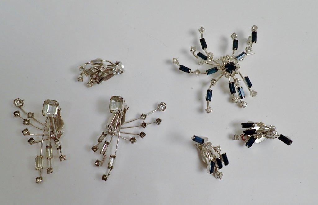 Faux Diamond & Sapphire Brooch & Earrings - 9