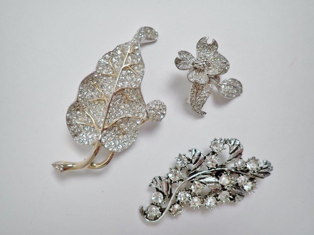 Three Vintage Faux Diamond Brooches