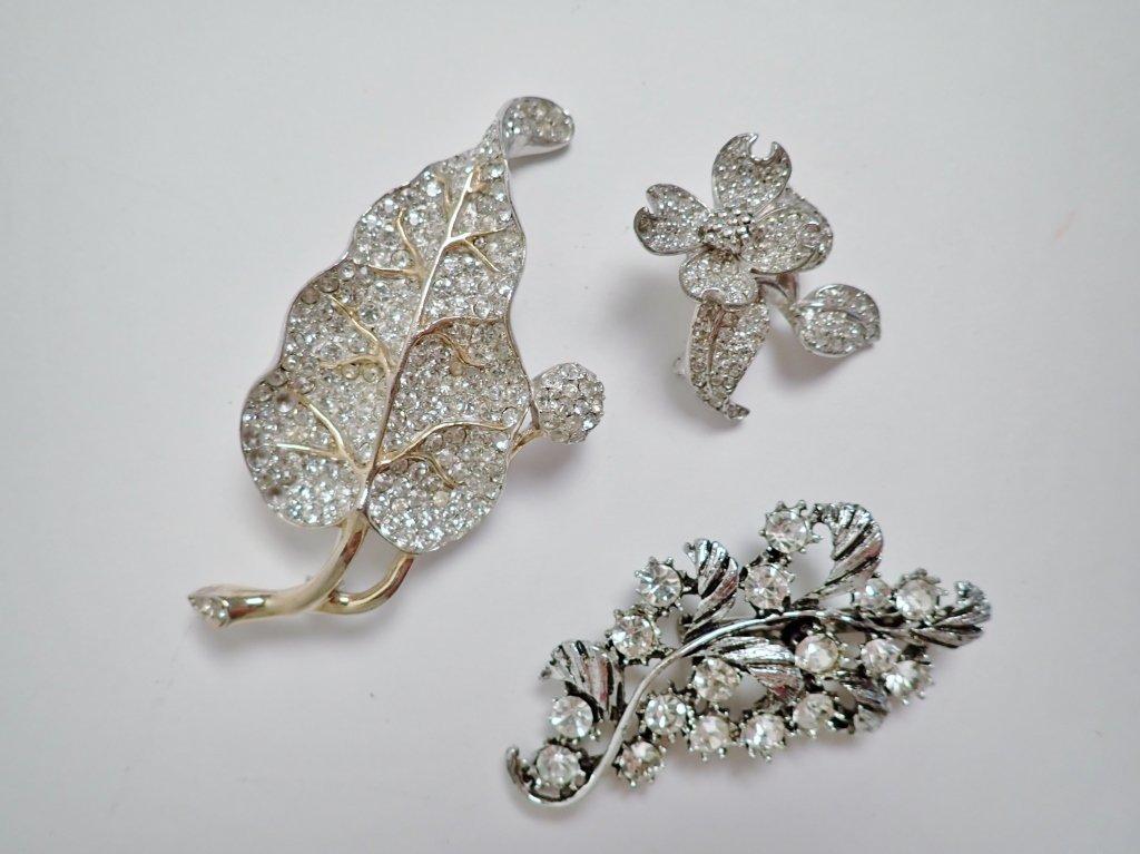 Three Vintage Faux Diamond Brooches