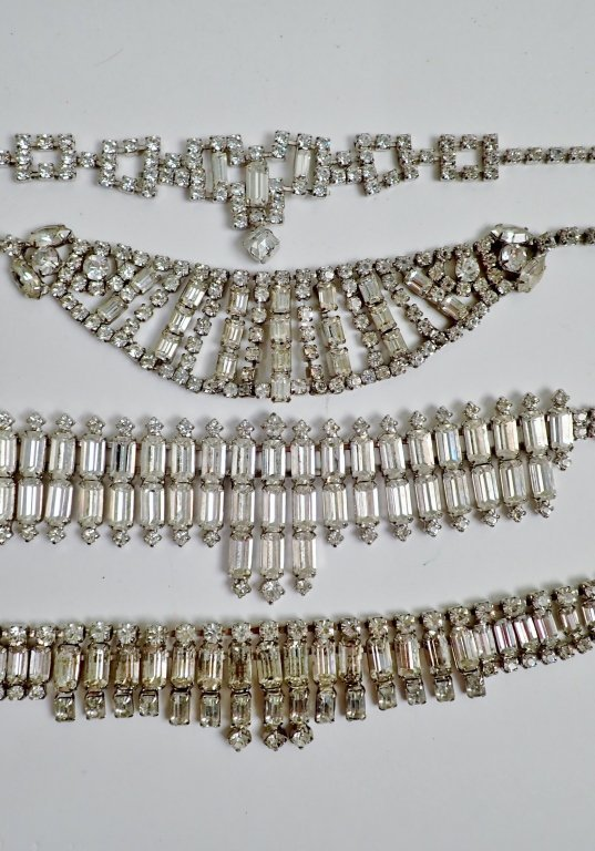 Vintage Faux Diamond Bib Necklaces - 10