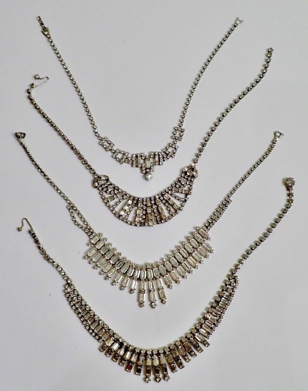 Vintage Faux Diamond Bib Necklaces