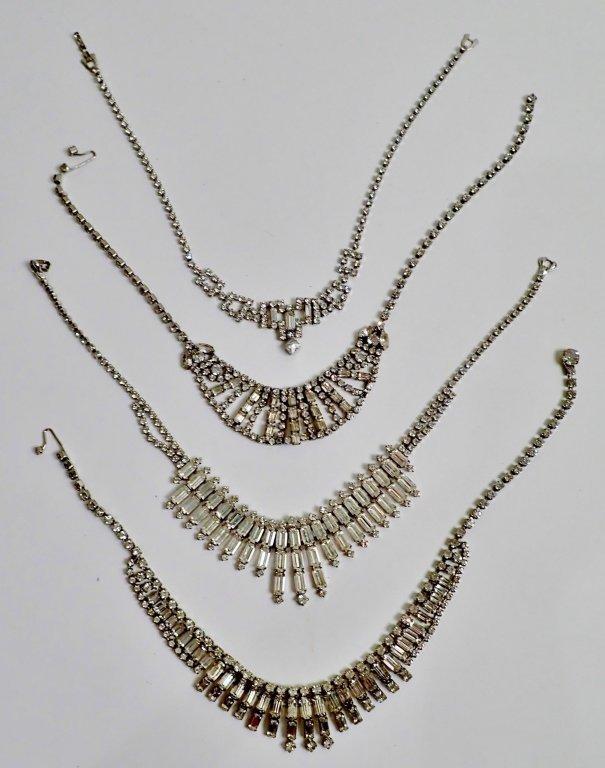 Vintage Faux Diamond Bib Necklaces