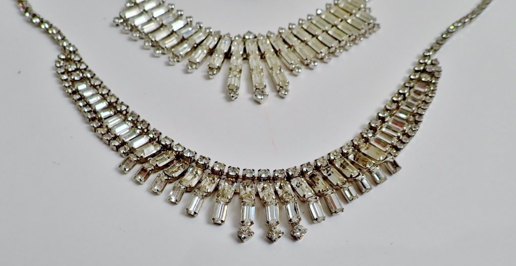 Vintage Faux Diamond Bib Necklaces - 2