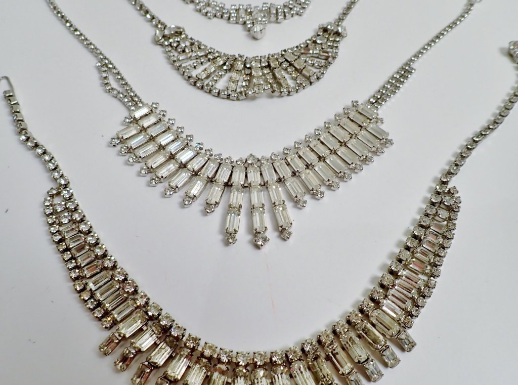 Vintage Faux Diamond Bib Necklaces - 3