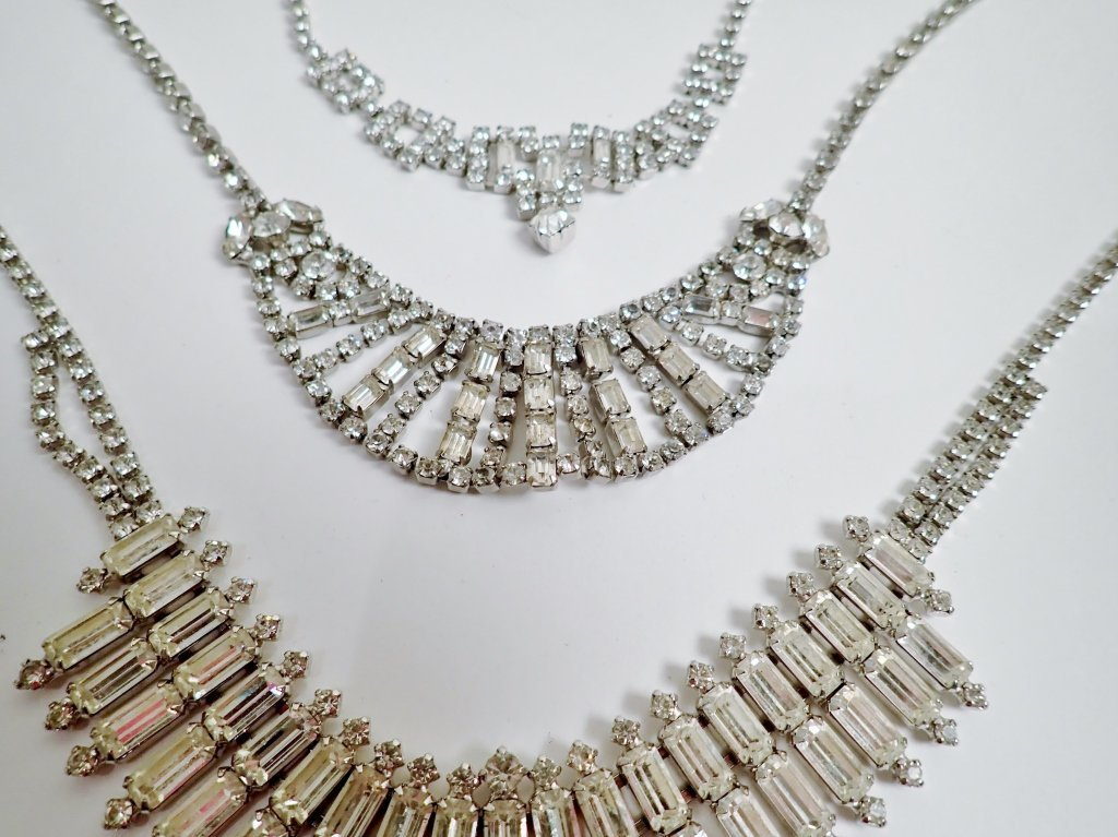 Vintage Faux Diamond Bib Necklaces - 4