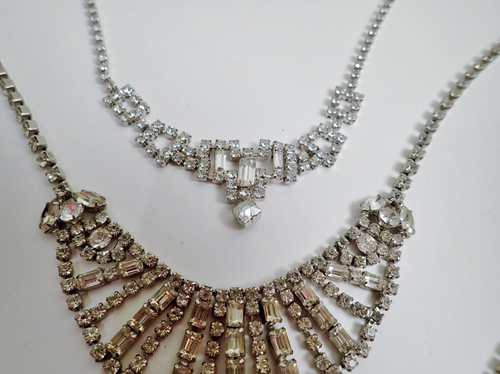 Vintage Faux Diamond Bib Necklaces - 5