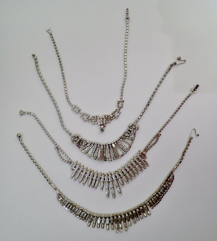 Vintage Faux Diamond Bib Necklaces - 6