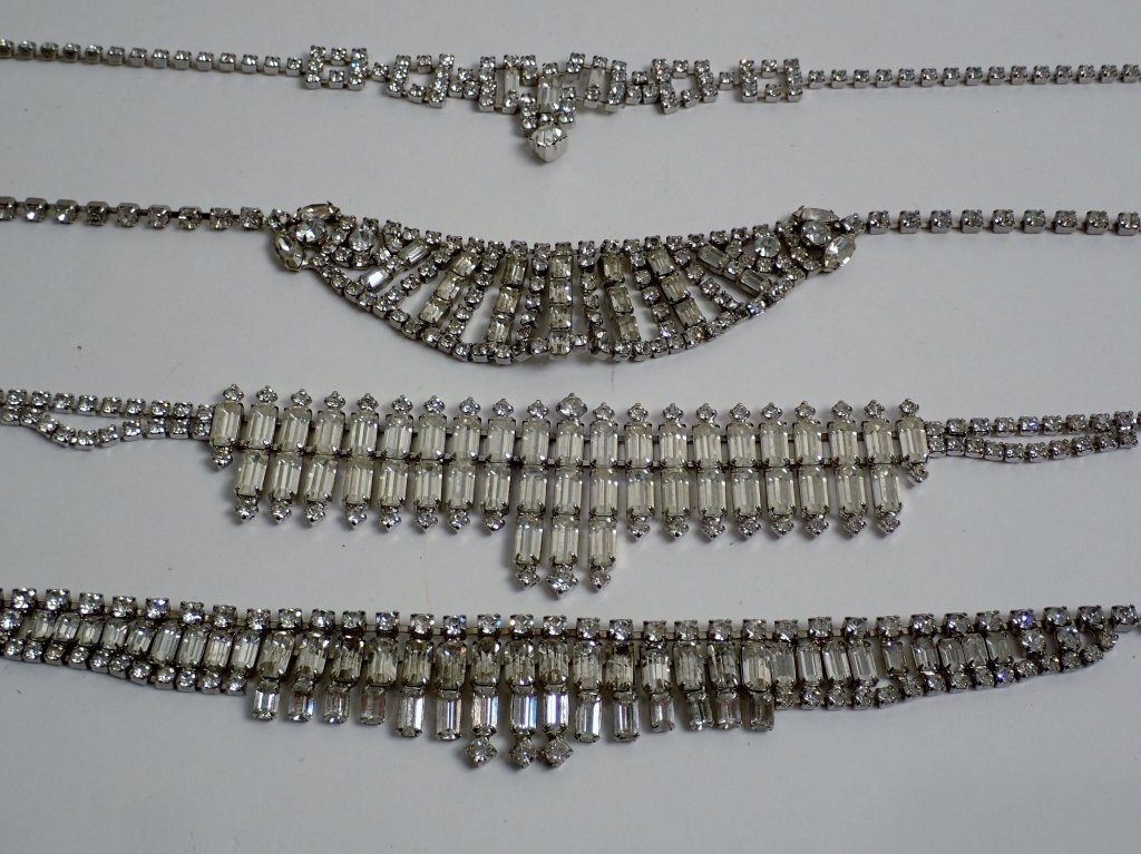 Vintage Faux Diamond Bib Necklaces - 9