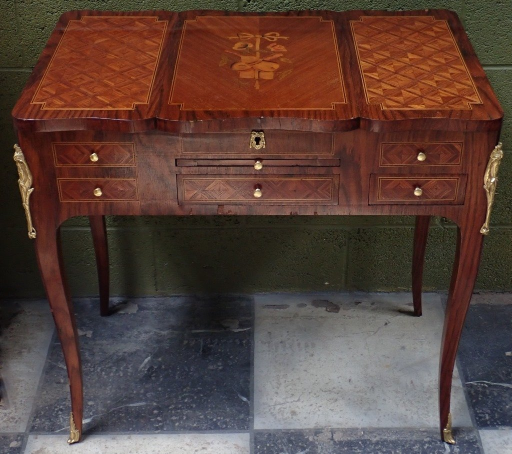 19th Century French Marquetry & Parquetry Vanity