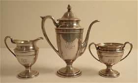 Continental Sterling Silver 3 Piece Tea Set