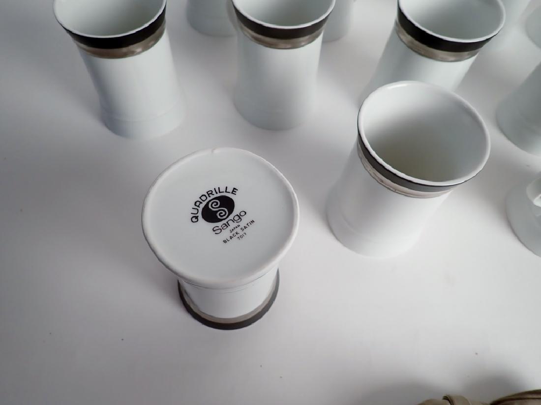 100 Piece Set Sango Quadrille Black Satin, Japan - 15