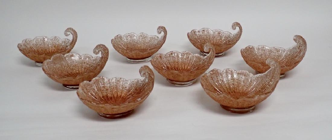 8 Murano Glass Overshot Art Glass Shell Bowls