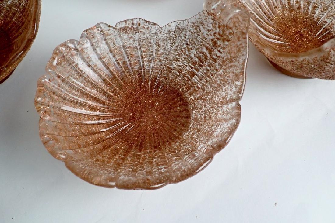 8 Murano Glass Overshot Art Glass Shell Bowls - 7