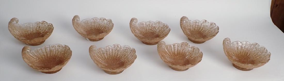 8 Murano Glass Overshot Art Glass Shell Bowls - 8