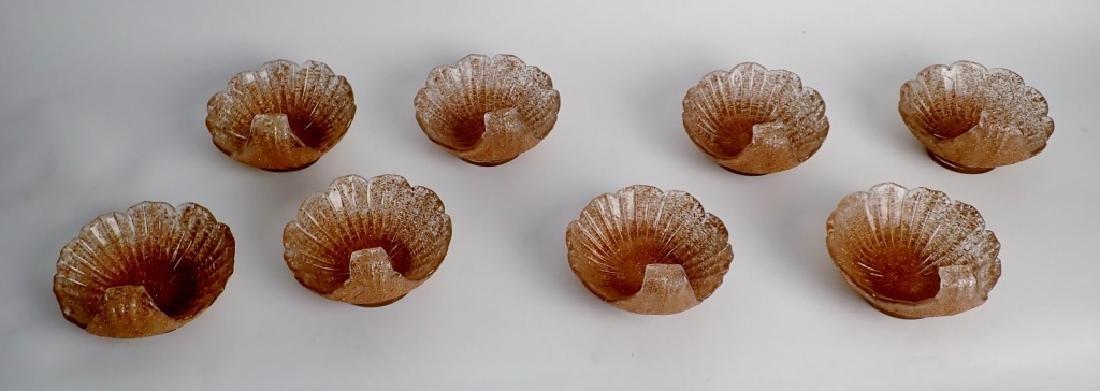 8 Murano Glass Overshot Art Glass Shell Bowls - 9
