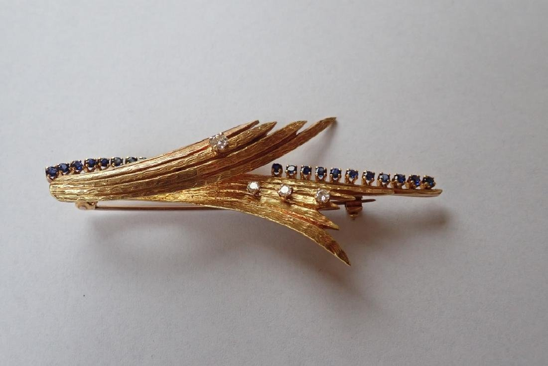 18K Yellow Gold, Diamond & Sapphire Brooch - 2
