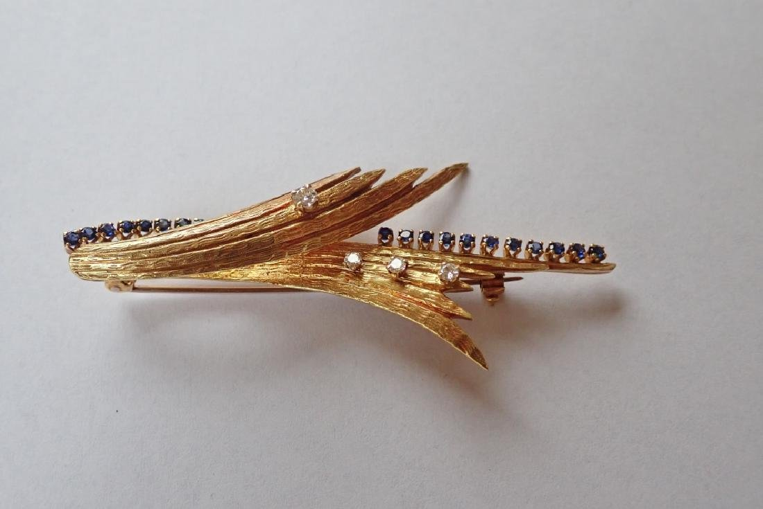 18K Yellow Gold, Diamond & Sapphire Brooch - 4