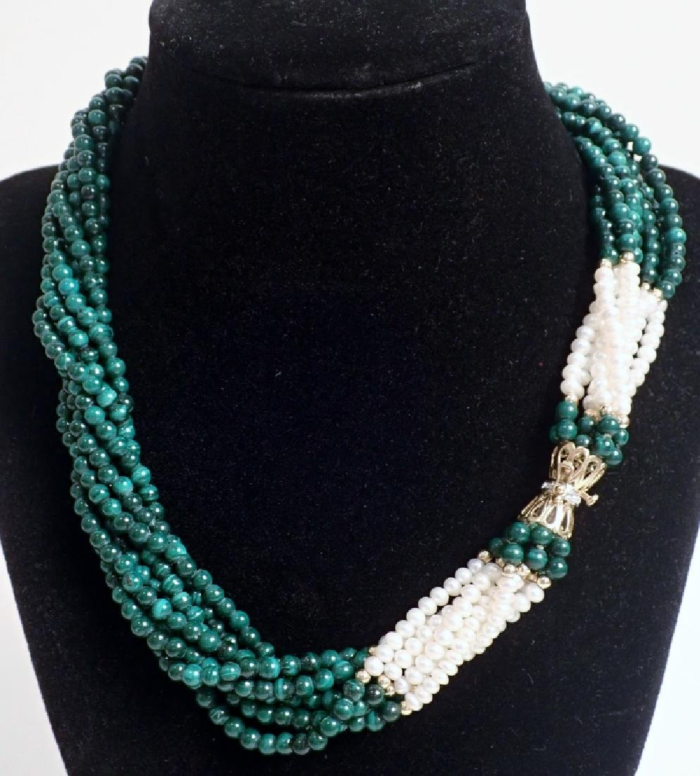 Pearl & Malachite bead necklace