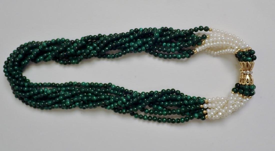 Pearl & Malachite bead necklace - 2