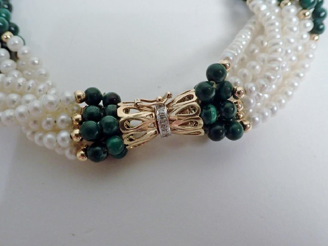 Pearl & Malachite bead necklace - 3