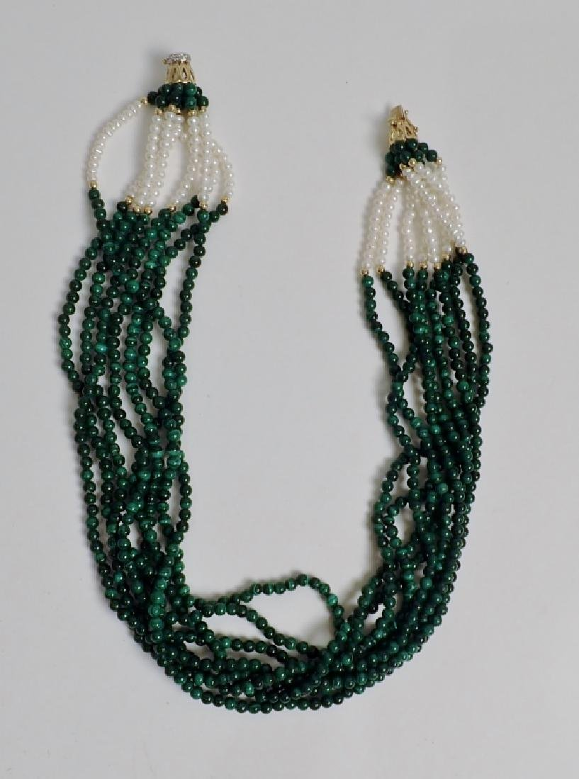 Pearl & Malachite bead necklace - 8