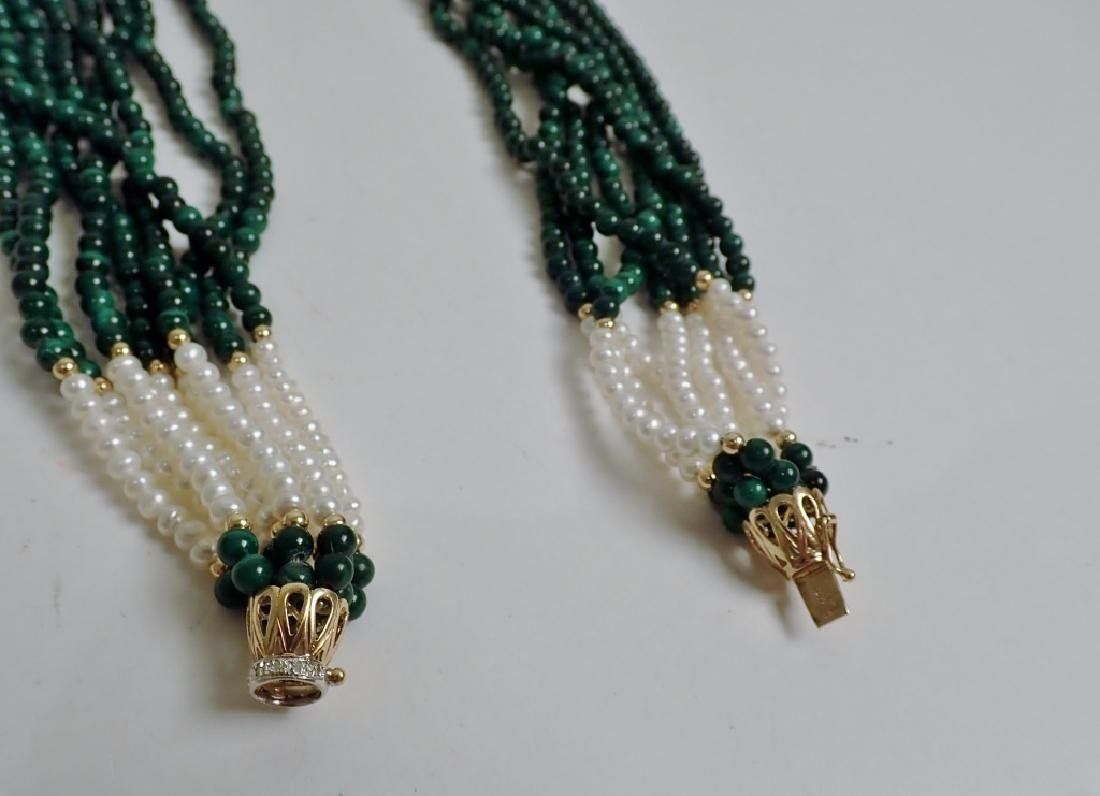 Pearl & Malachite bead necklace - 9