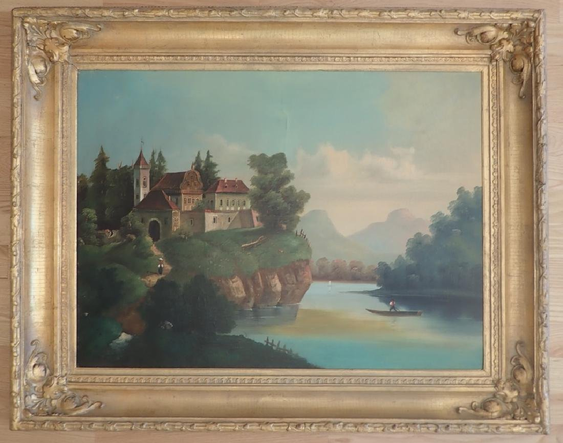 19th Century O/C Landscape Lake Scene