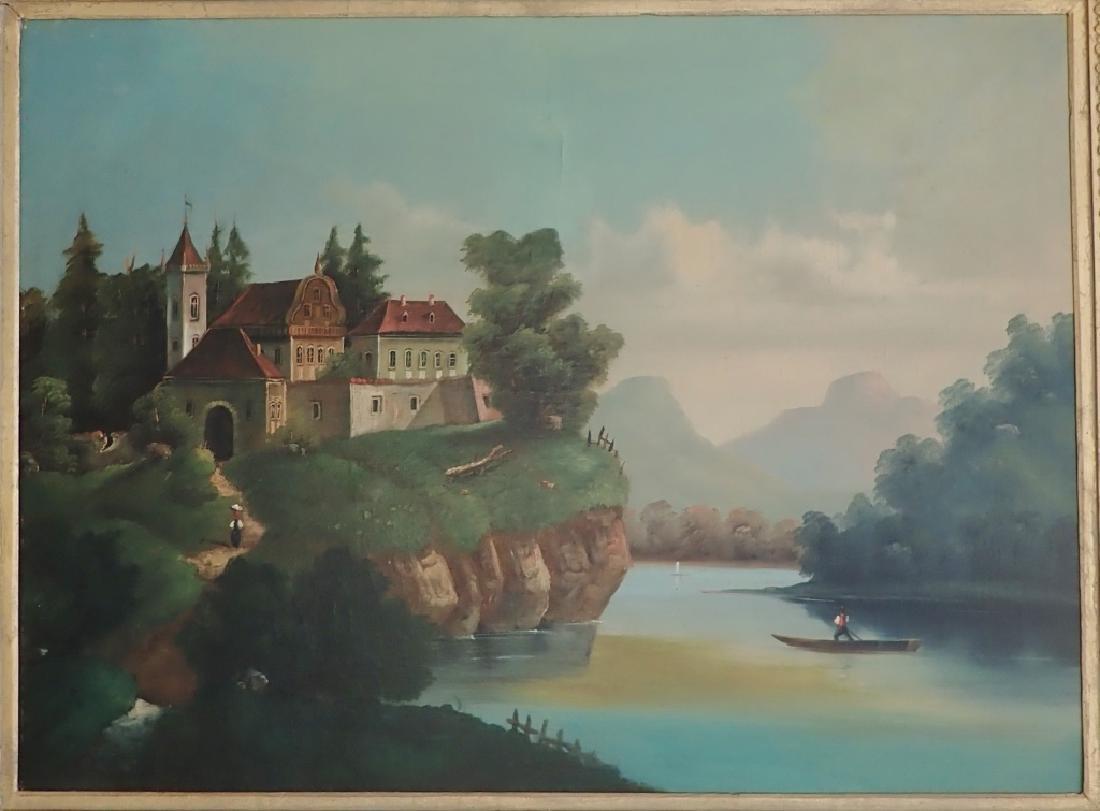 19th Century O/C Landscape Lake Scene - 2