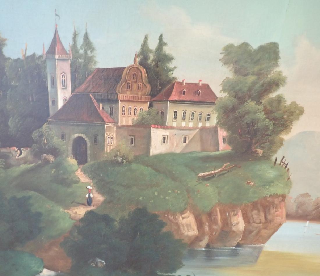 19th Century O/C Landscape Lake Scene - 4