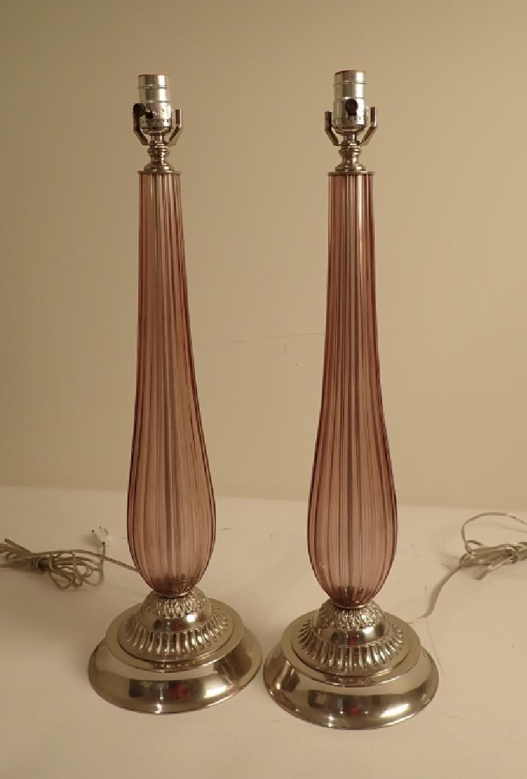 Venetian Glass Lamps in Manner of Seguso
