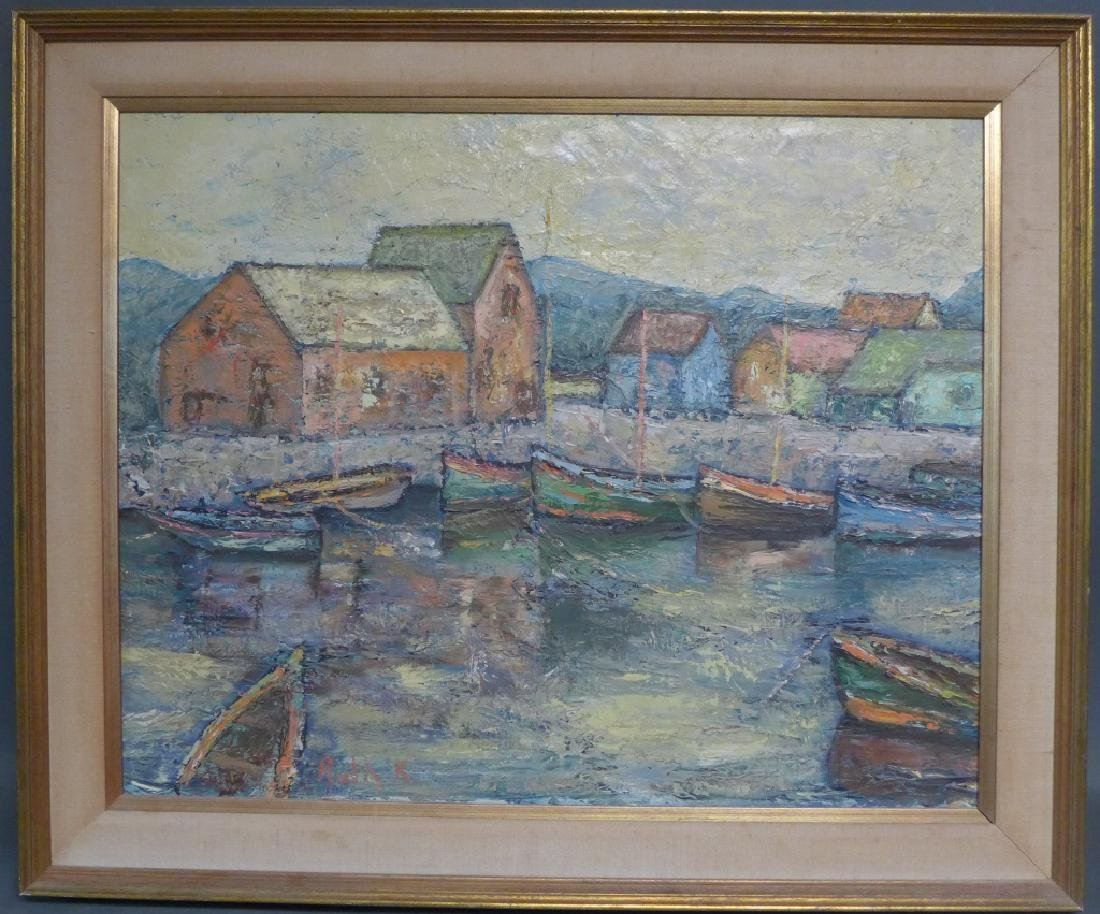 Signed Harbor Scene Painting