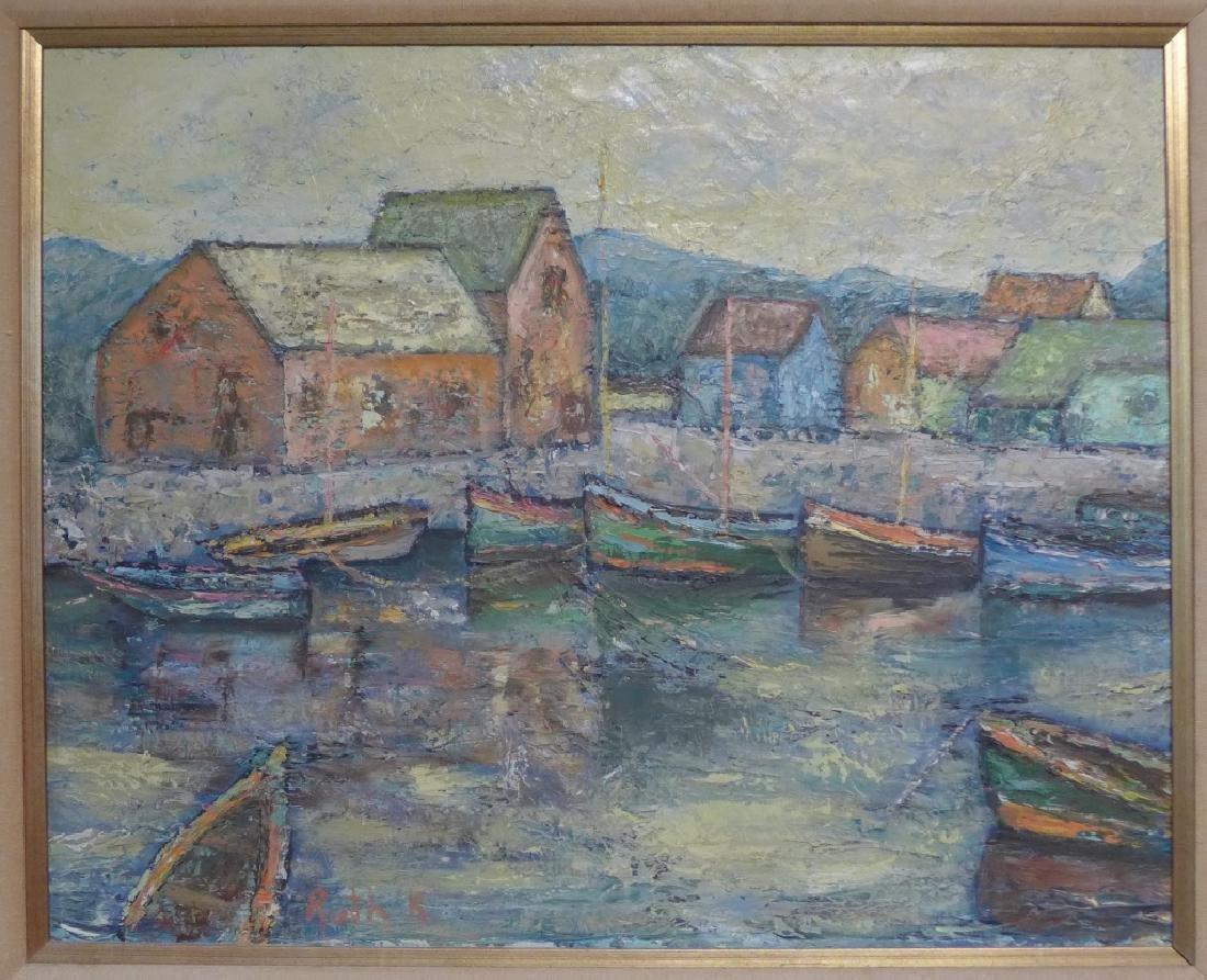Signed Harbor Scene Painting - 2